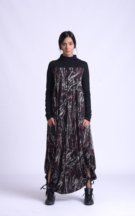 NEW Oversize Maxi Dress/Long Sleeve Extravagant Dress/Comfortable Loose Dress/Abstract Pattern Kaftan/Casual Plus Size Maxi Dress METD0161