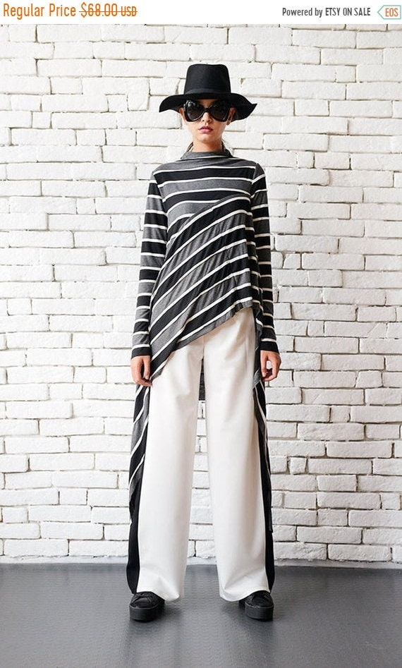 30% OFF Loose White Pants/Black Line Pants/Long Elegant Trousers/Wide Leg Black and White Pants/Formal Pants/White Long Pants/Office Work Pa