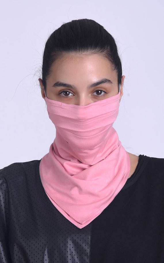 Pink Face Cover/Cloth Face Scarf/Bandana with Ear Loops/Comfortable Balaclava Cover Mask/Face and Neck Safety Mask/Pink Neck Gaiter Mask