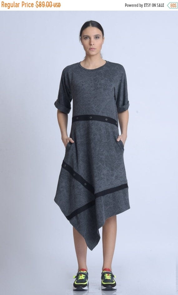20% OFF NEW Asymmetric Half Sleeve Dress/Comfortable Everyday Dress/Extravagant Dress with Studs/Dark Grey Loose Dress/Casual Pocket Dress M