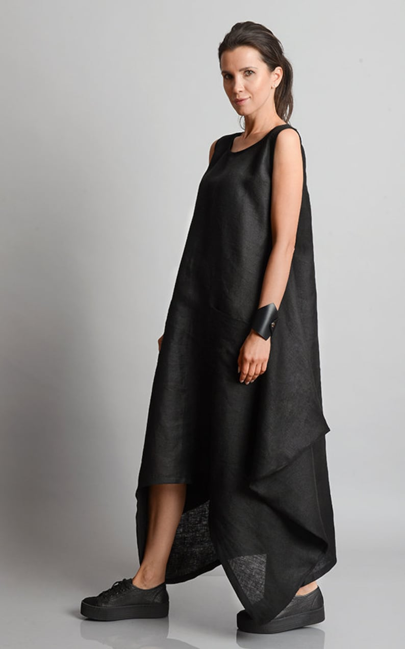 Black Maxi Dress/Plus Size Linen Dress/Asymmetric Black 1ycMkCdR