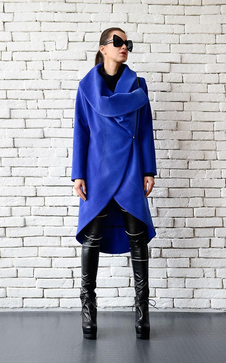 Blue Cashmere Coat/Long Elegant Coat/Asymmetric Blue image 0