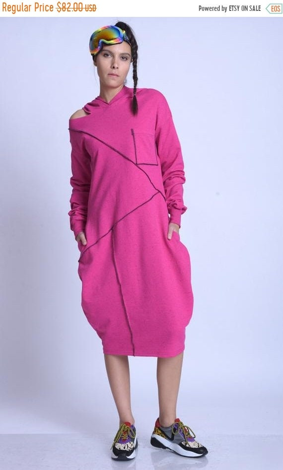 15% OFF META SPORT Long Sleeve Hooded Dress/Extravagant Maxi Dress/Oversize Long Tunic/Plus Size Casual Tunic Dress/Comfortable Everyday Dre