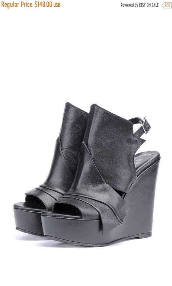 40% OFF Extravagant Black Leather Sandals/Genuine Leather Summer Heels/Black Leather Shoes/Leather Wedges/Black High Heels/Platform Shoes