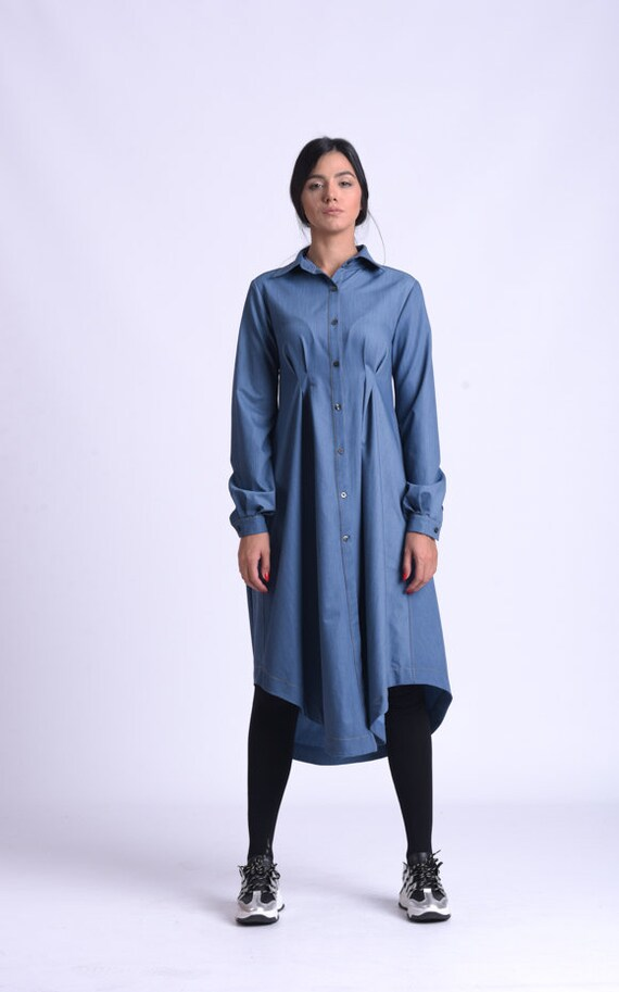 NEW Loose Denim Shirt Dress/Collared Tunic Dress/Long Sleeve Button Dress/Asymmetric Jean Dress/Casual Everyday Dress/A Line Dress METD0160