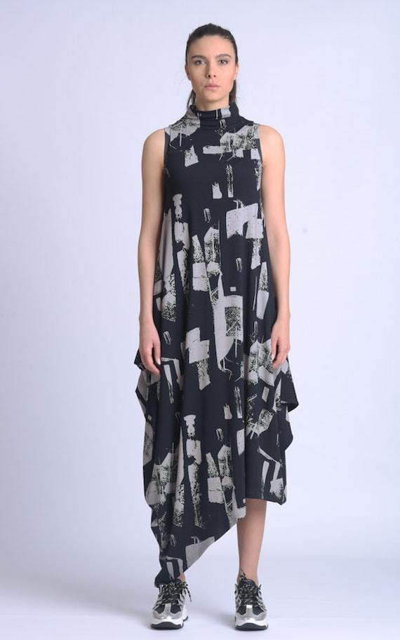 NEW Turtleneck Pattern Dress/Oversize Sleeveless Dress/Plus Size Everyday Dress/Extravagant Kaftan/Long Maxi Dress METD0150