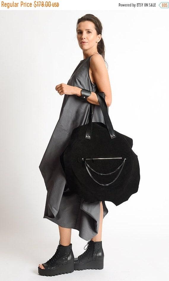 15% OFF Black Suede and Genuine Leather Bag/Extravagant Circle Bag/Black Maxi Tote/Asymmetric Handbag/Black Leather Shoulder Bag with Chain