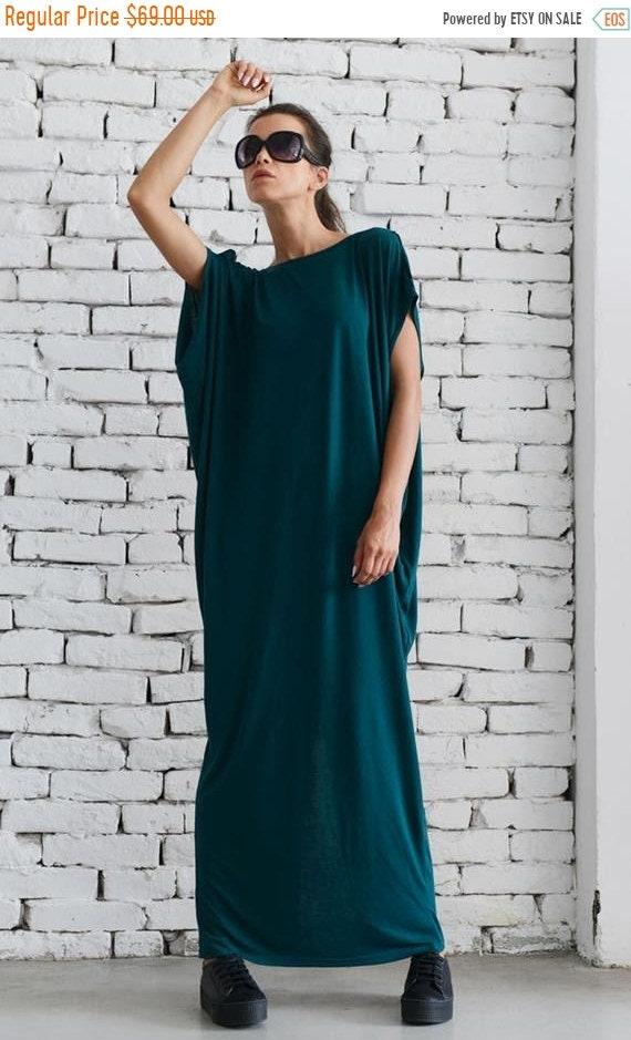 20% OFF Loose Maxi Dress/Petrol Green Kaftan/Casual Long Dress/Oversize Dark Green Tunic/Plus Size Maxi Dress/Elegant Summer Dress METD0055