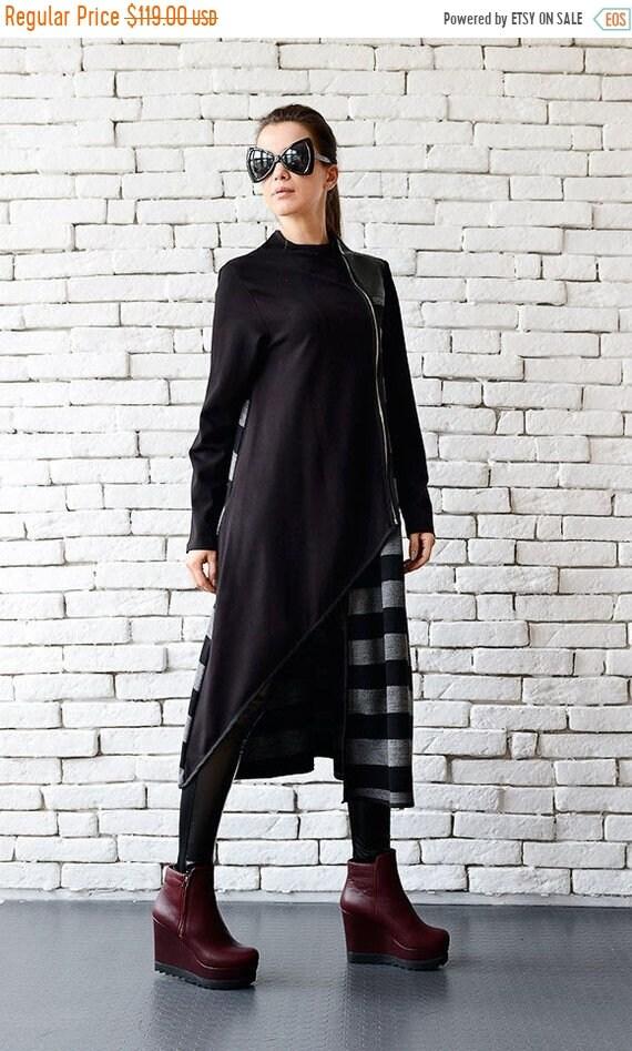 25% OFF Extravagant Black Coat/Stripe Long Cardigan/Grey and Black Loose Coat/Oversize Zipper Jacket/Long Warm Coat/Asymmetric Coat METC0038
