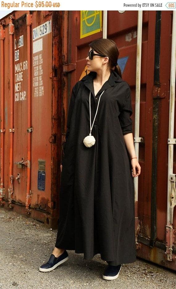 20% OFF Black Maxi Dress/Long Sleeve Dress/Black Shirt Dress/Oversize Long Shirt/Plus Size Maxi Dress/Extravagant Shirt Dress/Black Dress ME