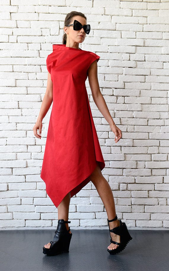 Extravagant Red Dress/Fashionable Party Dress/Sleeveless Red Dress/Comfortable Tunic Dress/Oversize Long Tunic/Birthday Dress METD0083