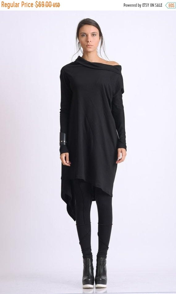 20% OFF Black Asymmetric Tunic/Loose Long Top/Extravagant Casual Tunic/Oversize Black Long Top/Long Sleeve Tunic Top/Everyday Casual Black T