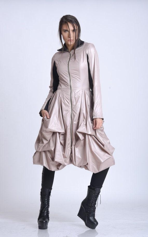NEW Draped Dress Jacket/Elegant Womens Coat/Asymmetric Loose Jacket/Extravagant Zipper Coat/Formal Knee Length Coat/Fitted Waist Coat