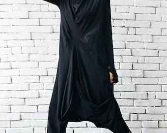 High Quality Black Maxi Dress/Asymmetrical Loose Oversize Tunic/Long Sleeve Thumb Hole Maxi Black Dress/Asymmetric Loose Dress METD0007