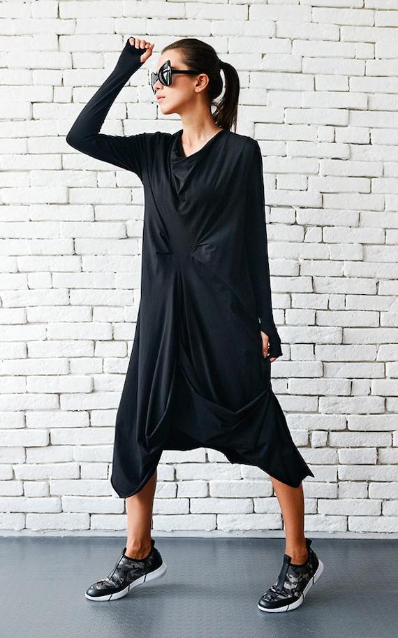 c716f04af17 High Quality Black Maxi Dress   Asymmetrical Loose Oversize
