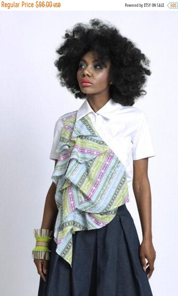 35% OFF Extravagant Asymmetric Shirt/White Shirt with Colorful Front Accent/Short Sleeve Extravagant Top/Edgy Shirt with Decoration
