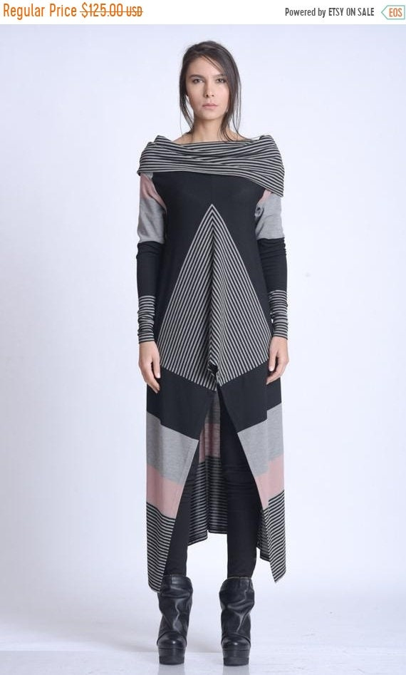 15% OFF NEW Extravagant Asymmetric Tunic Top/Abstract Pattern Tunic/Avant Garde Long Tunic/Loose Long Sleeve Top/Casual Everyday Colorful Tu