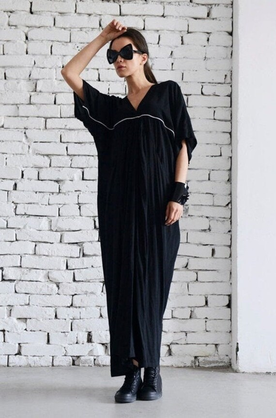 35% OFF Maxi Black Dress/Long Plus Size Dress/Short Sleeve Black Kaftan/Party Black Dress/White Line Black Dress/Casual Loose Dress/Plus Siz