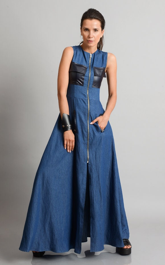 9a02fb2b39e ... Long Zipper Dress/Sleeveless Denim Kaftan/Extravagant Jean Dress with  Leather Pockets. gallery photo gallery photo ...
