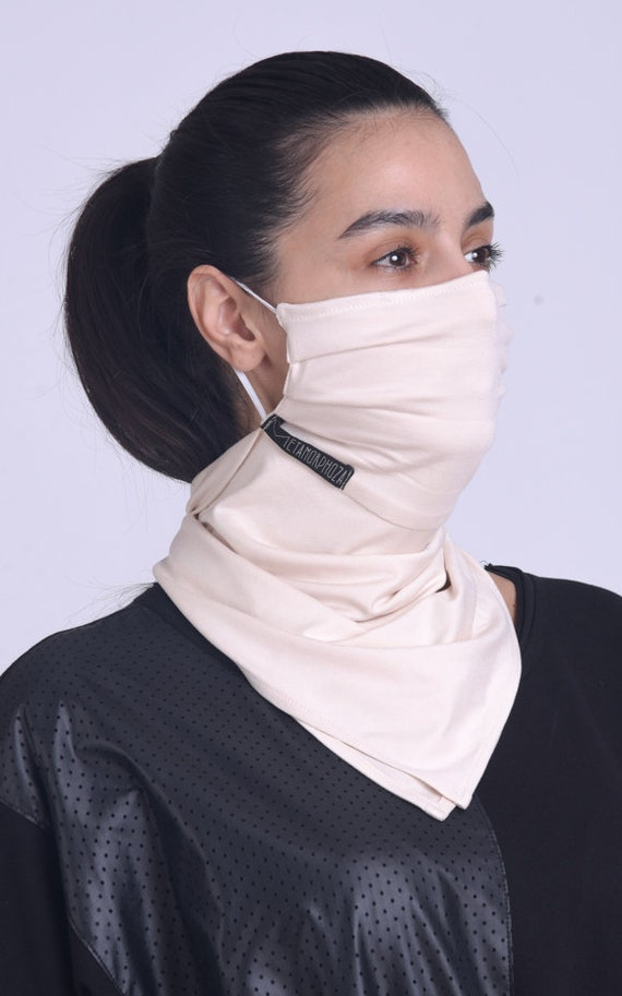 Beige Face Cover with OEKO-TEX Filter/Comfortable Bandana Face Cover/Everyday Scarf Mask/Cream Balaclava Cover/Face and Neck Gaiter Mask