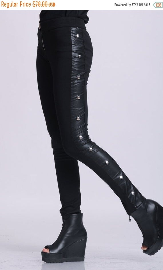 20% OFF NEW Black Tight Pants/Extravagant Studded Leggings/Slim Fit Black Pants/Leather Pants/Zipper Pants/Long Tight Fitting Pants METP0056
