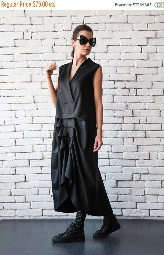 20% OFF Asymmetric Black Dress/Loose V Neck Dress/Sleeveless Maxi Dress/Maxi Black Dress/Draped Dress/Loose Black Dress/Black Kaftan/Plus Si