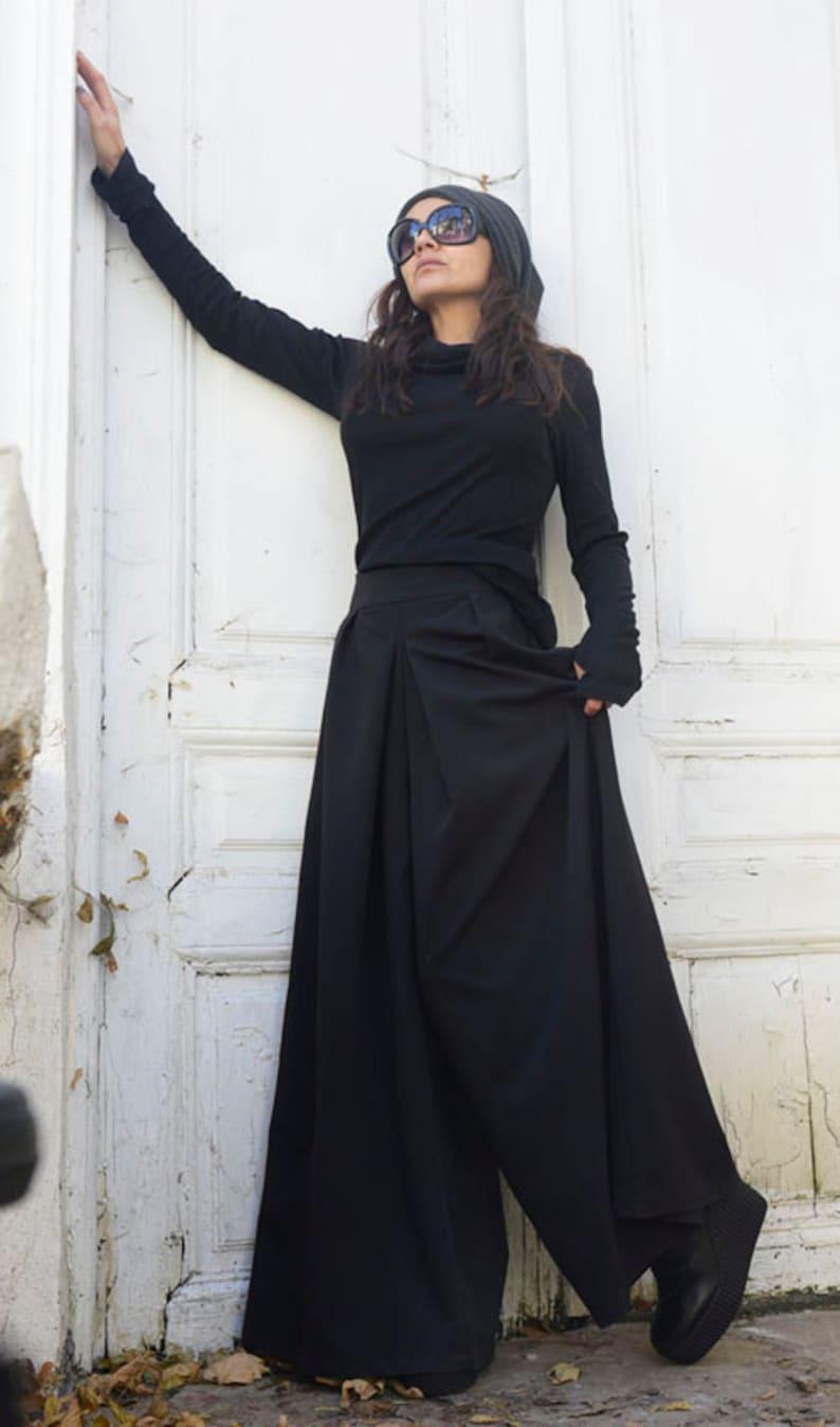 Black Maxi Pants / Wide Leg Long Pants / Oversize Skirt Pants image 0