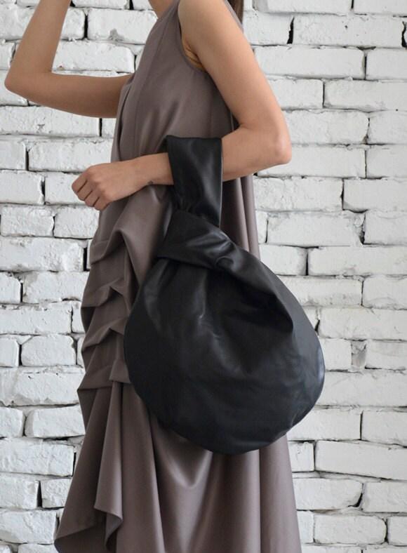 c847218c8e1d Black Circle Bag/Modern Leather Bag/Extravagant Genuine Leather Tote/Small  Black Clutch/Casual Black Leather Handbag/Mini Tote Bag/Clutch