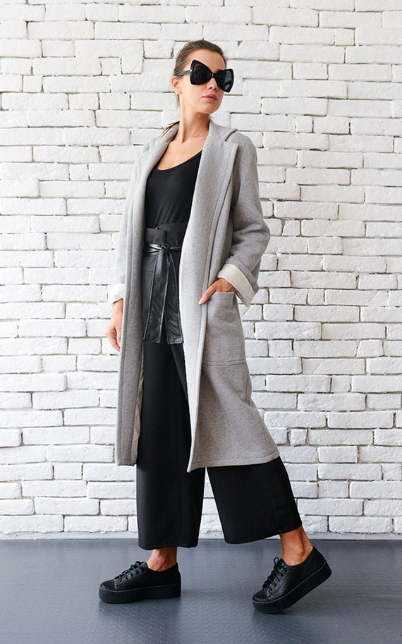 Folded Sleeve Long Winter Coat/Loose Grey Long Jacket/Warm Cardigan with Pockets/Oversize Maxi Top/Plus Size Grey Coat METC0004