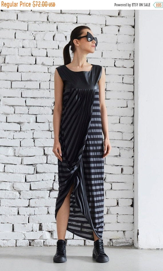 35% OFF Maxi Striped Dress/ Striped Eco Leather Dress/ Leather black Dress/ Asymmetric Leather Dress by METAMORPHOZA