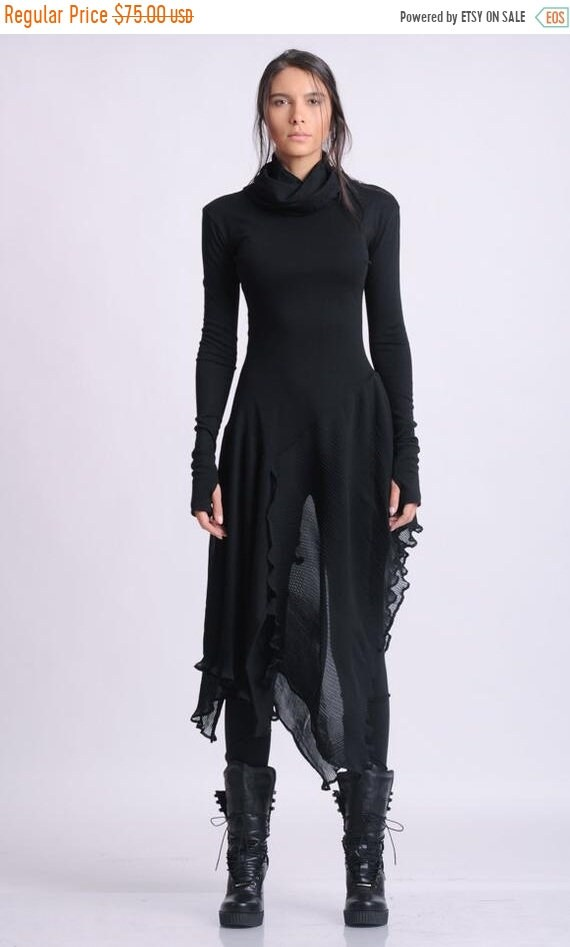 15% OFF NEW Long Asymmetric Black top/Extravagant Casual Tunic/Thumb Hole Sleeve Blouse/Black Chiffon Top/Avant Garde Black Blouse METT0143