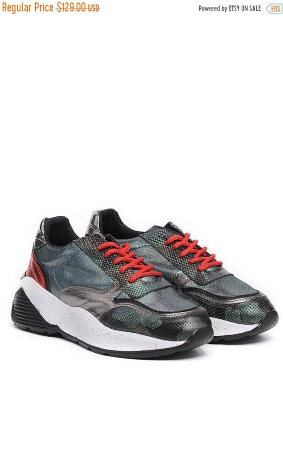 40% OFF Extravagant Sports Shoes/Colorful Flat Shoes/Casual Shoes with Laces/Comfortable Everyday Shoes/Genuine Leather Gym Shoes/Thick Sole