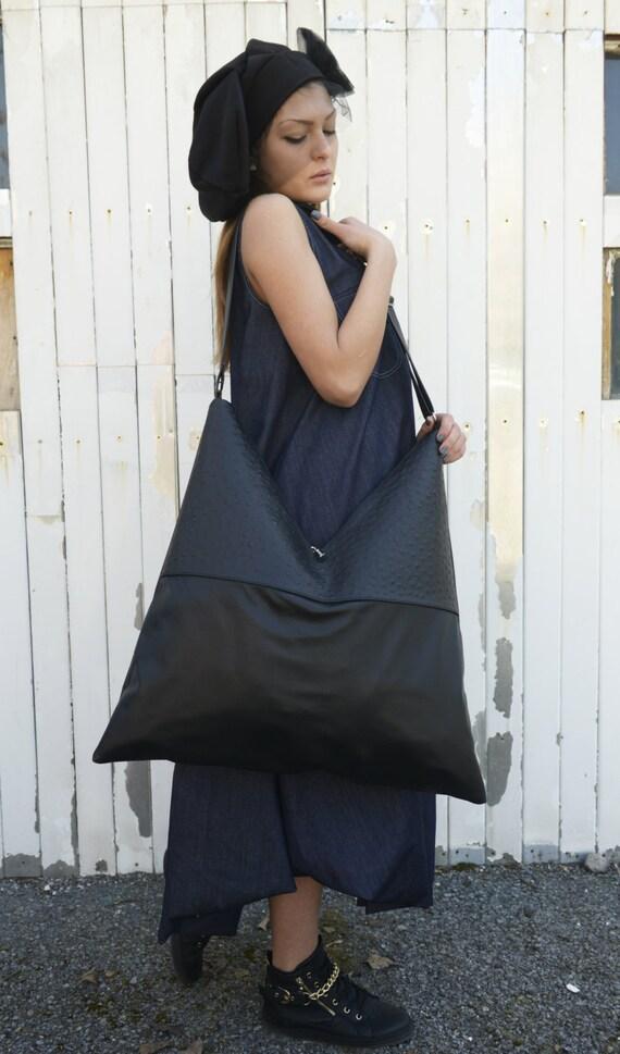 Genuine Leather Black Maxi Bag / High Quality Shoulder Bag / Extravagant Asymmetrical Oversize Handbag by METAMORPHOZA