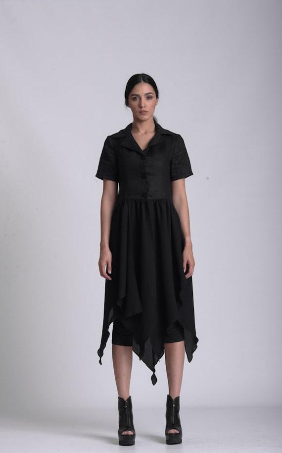 NEW Linen Shirt Dress / Black Button Shirt / Boho Linen Clothing