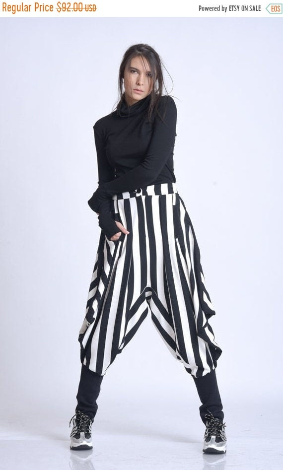 20% OFF NEW Black and White Harem Pants/Stripe Maxi Pants/Drop Crotch Monochrome Pants/Oversize Trousers/Fitted Calf Pants/Fallen Bottom Pan