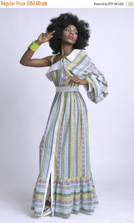 50% OFF Extravagant Long Loose Dress/Colorful Pattern One Sleeve Kaftan/Puffy Sleeve Summer Dress/Multi Color Maxi Dress with Collar