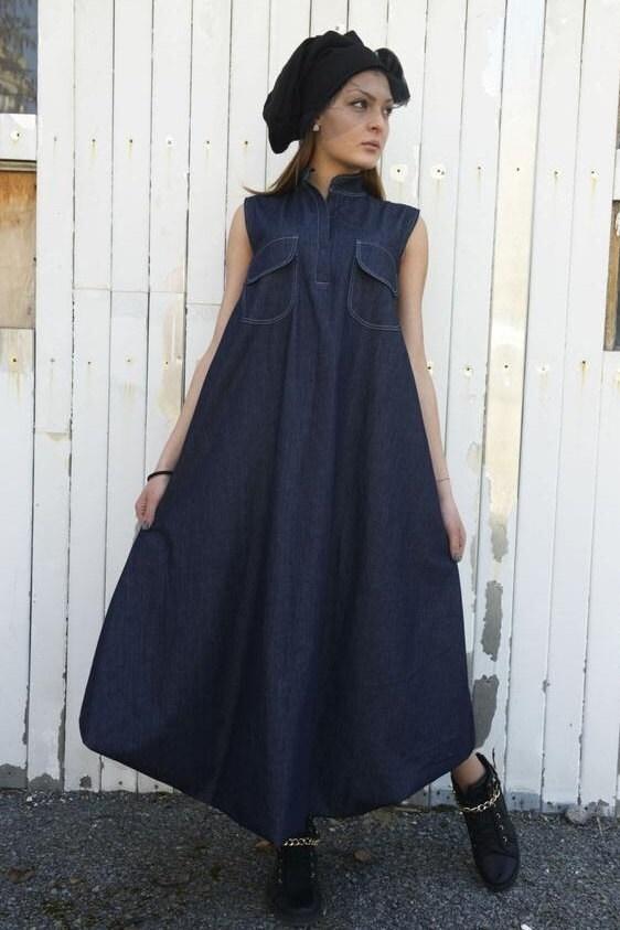 SALE Denim Maxi Dress / Blue Jean Dress / Dark Blue Kaftan ...