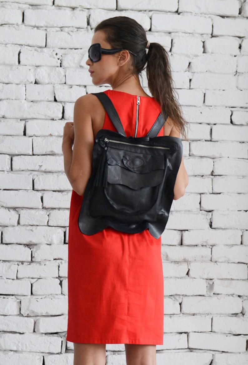 Black Leather Backpack/Extravagant Black Small image 0