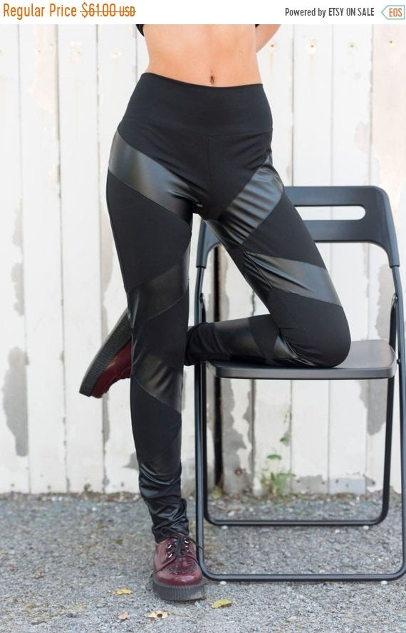 20% OFF Black Leather Pants / Leather Striped Leggings / Leather Slim Fit Pants / Casual Pants