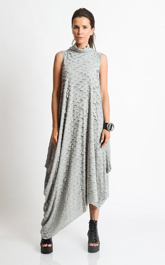 NEW Grey Asymmetric Loose Dress Handmade Maxi Dress Oversize  a1afe666ce9