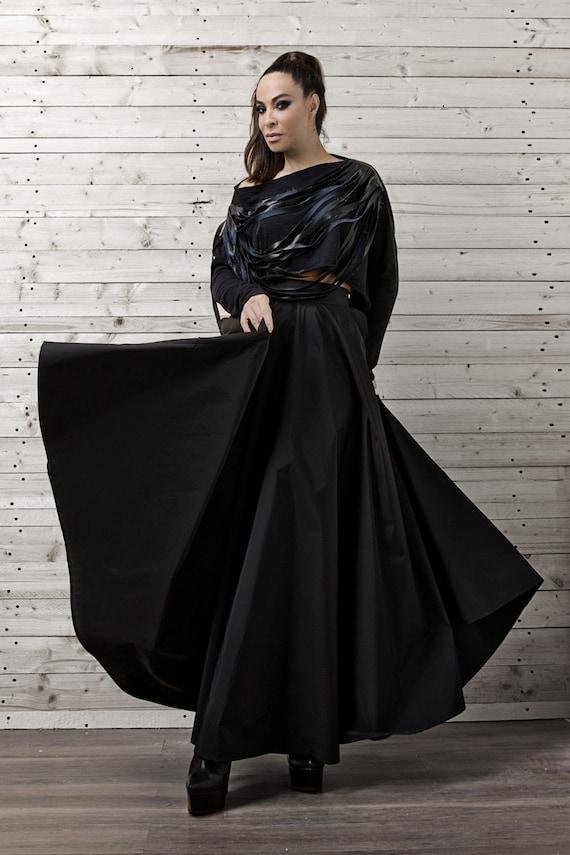 Maxi Black Skirt/Long Black Skirt/Oversize Long Skirt/Evening Formal Skirt/Elegant Black Long Skirt/Party Skirt/Loose Maxi Skirt