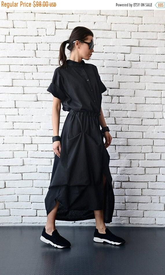 20% OFF Long Black Linen Dress/Extravagant Short Sleeve Kaftan/Casual Asymmetric Loose Dress with String/Comfortable Shirt Collar Dress/Over