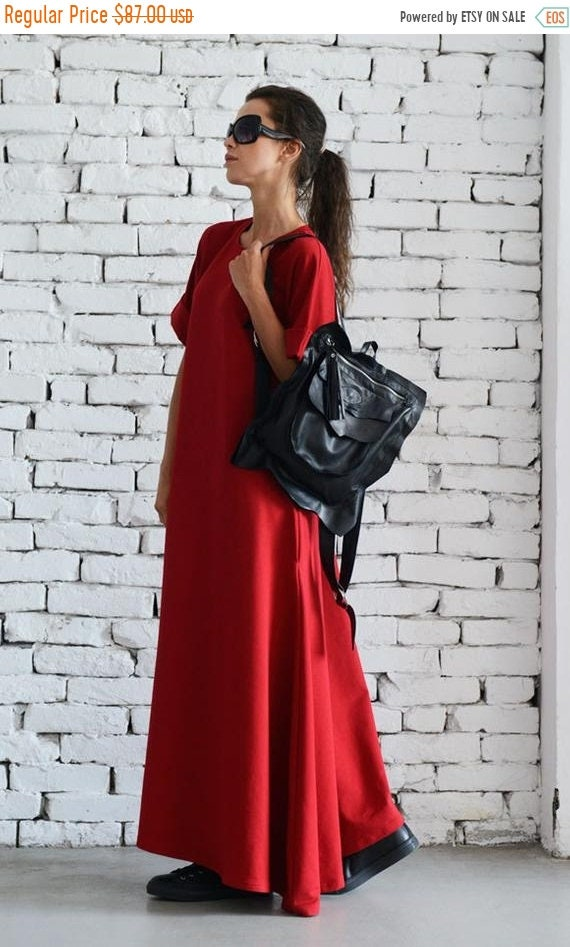 20% OFF Maxi Red Dress/Loose Oversize Dress/Plus Size Outfit/Everyday Casual Look/Short Sleeve Kaftan/Red Long Dress/Loose Pocket Dress/Over