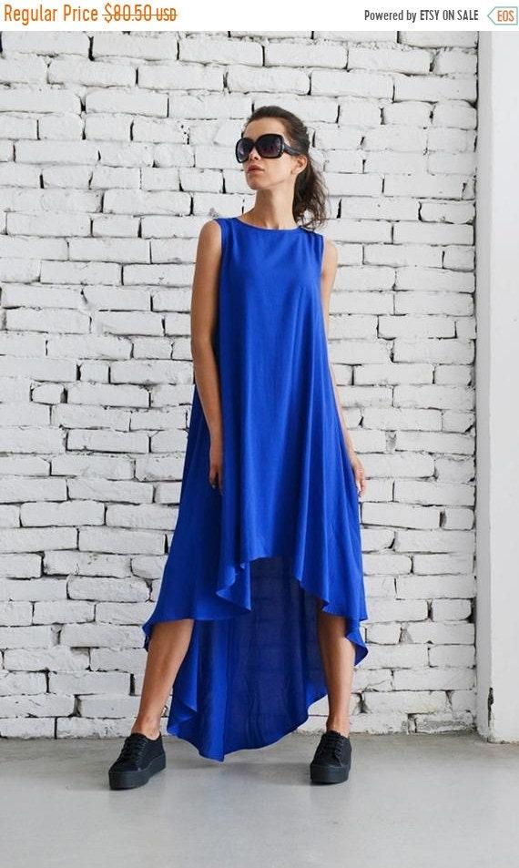 35% OFF Loose Royal Blue Dress/Asymmetric Casual Dress/Oversize Blue Tunic Top/Sleeveless Summer Kaftan/Plus Size Maxi Dress/Blue Elegant Dr