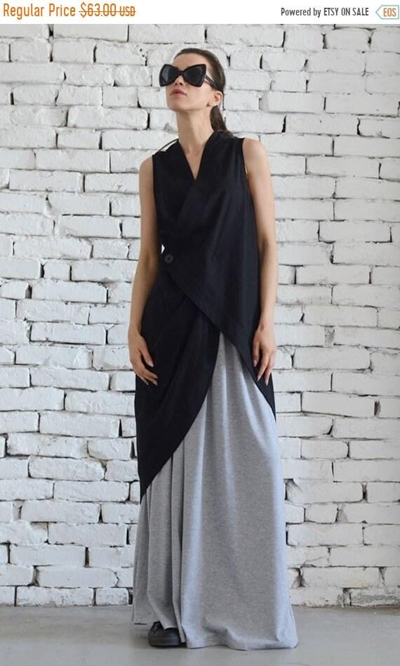 20% OFF Asymmetric Black Top / Linen Black Tunic / Black Linen Top / Black Dress / Linen Top/ Linen Black Tunic / Long Black Vest / Sleevele