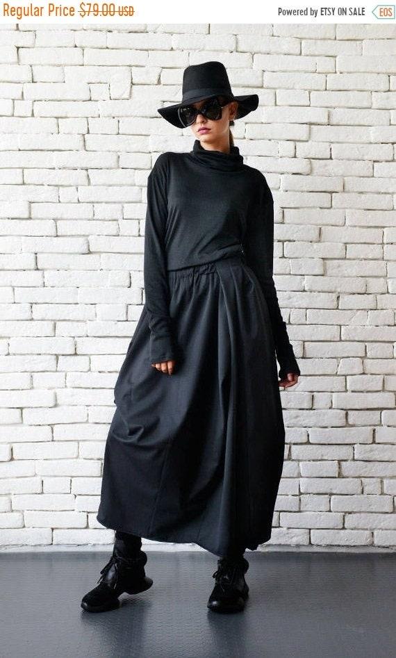 25% OFF Asymmetric Long Black Skirt/Extravagant Casual Skirt/Loose Black Skirt/Elastic Waist Skirt/Plus Size Skirt/Loose Asymmetric Skirt ME