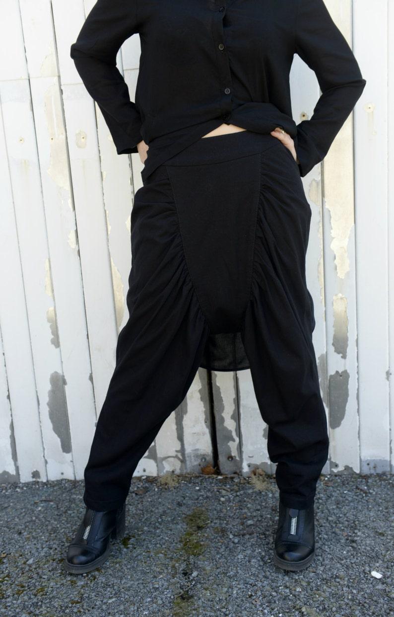 Loose Linen Black Pants / Drop Crotch Pants / Hippie Pants / image 0