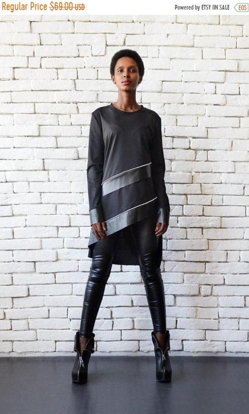 d9e18ac37a9 SALE Long Sleeve Black Tunic/Leather Detail Stripe Top/Black   Etsy