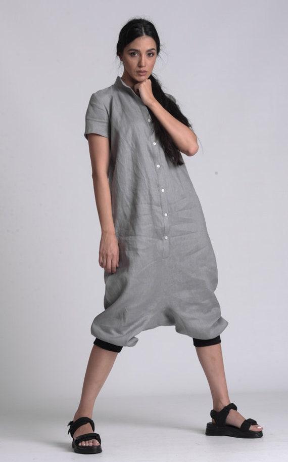 NEW Grey Casual Linen Boho Jumpsuit by METAMORPHOZA