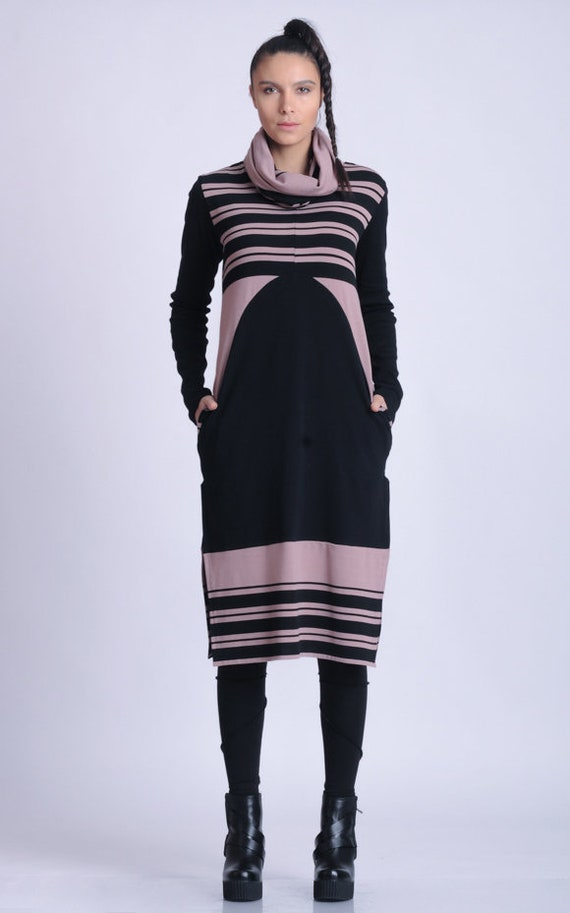 NEW Extravagant Long Sleeve Tunic/Stripe Tunic Top/Cowl Neckline Long Top/Loose Casual Tunic Top/Oversize Fit Tunic/Tunic with Pockets